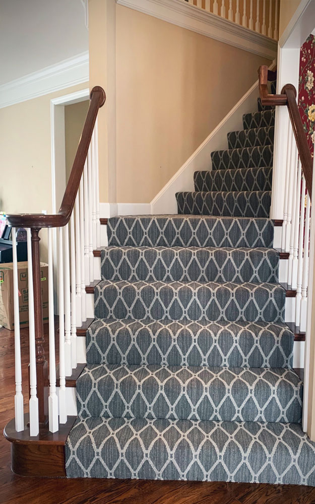 Anderson Tuftex Marrakech Stately Gray patterned Stainmaster carpet installed on staircase.