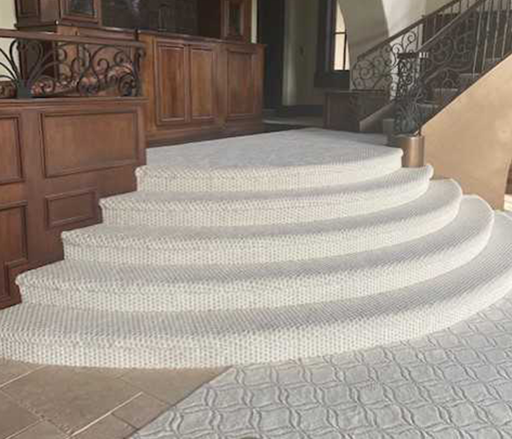 Pizza steps custom installation featuring Shaw Appreciation Snowfall carpet completed by Big Bob's Flooring Outlet