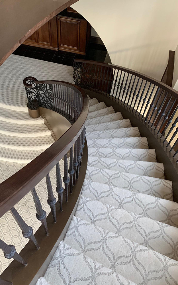 Staircase installation featuring Shaw Appreciation Snowfall carpet completed by Big Bob's Outlet in Kansas City