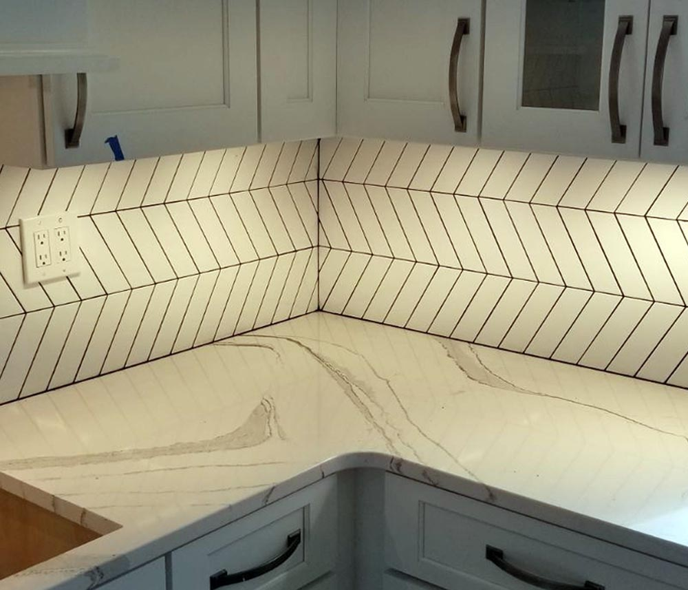 Custom chevron kitchen backspash installation after picture